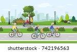 active seniors in the city park.... | Shutterstock .eps vector #742196563