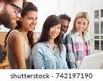 students in computer workshop... | Shutterstock . vector #742197190
