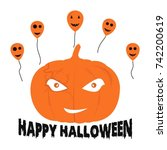 design vector happy halloween... | Shutterstock .eps vector #742200619