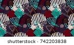 memphis seamless  pattern in... | Shutterstock .eps vector #742203838