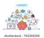 fundraising concept.... | Shutterstock .eps vector #742205200