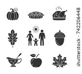 thanksgiving day icons. vector... | Shutterstock .eps vector #742206448