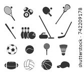 set of sports inventory. black... | Shutterstock .eps vector #742209178