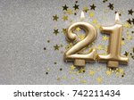 number 21 gold celebration... | Shutterstock . vector #742211434