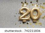 number 20 gold celebration... | Shutterstock . vector #742211836