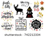 christmas and new year 2018... | Shutterstock .eps vector #742212334