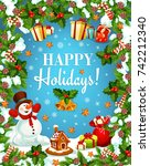 winter holidays greeting card... | Shutterstock .eps vector #742212340