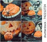 halloween cupcakes | Shutterstock . vector #742212724