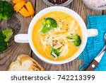 vegetable cream soup with... | Shutterstock . vector #742213399