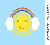 sun in the headphones. cartoon. ... | Shutterstock .eps vector #742215256
