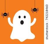 halloween ghost with black... | Shutterstock .eps vector #742218460