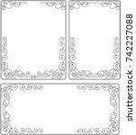 frame floral border decorative... | Shutterstock .eps vector #742227088