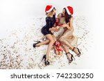 top view on two   sexy women in ... | Shutterstock . vector #742230250