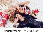 two smiling gorgeous  women  in ... | Shutterstock . vector #742230259