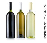 set of  wine bottles isolated... | Shutterstock . vector #742232623