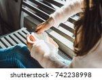 beautiful brunette girl with...   Shutterstock . vector #742238998