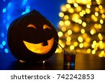 close up of a halloween pumpkin ... | Shutterstock . vector #742242853