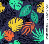 seamless exotic pattern with... | Shutterstock .eps vector #742243720