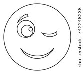 winks smile icon. vector thin...   Shutterstock .eps vector #742248238