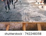 concrete pouring during...   Shutterstock . vector #742248358