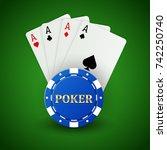 casino poker background. ace... | Shutterstock .eps vector #742250740