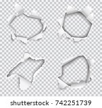 set of vector realistic holes... | Shutterstock .eps vector #742251739