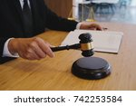 legal counsel presents to the... | Shutterstock . vector #742253584