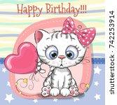 Stock vector greeting card cute cartoon kitten with balloon 742253914