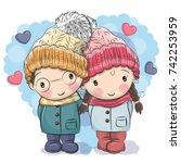 cute winter illustration cute... | Shutterstock .eps vector #742253959