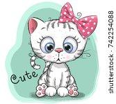 cute drawing kitten girl... | Shutterstock .eps vector #742254088