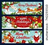 christmas festive banner of... | Shutterstock .eps vector #742255510