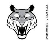 monochrome tiger head... | Shutterstock .eps vector #742255666