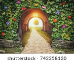mysterious gate entrance in... | Shutterstock . vector #742258120