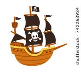 stylized cartoon pirate ship... | Shutterstock .eps vector #742263934