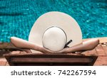 asian young woman in hat... | Shutterstock . vector #742267594