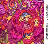 vector bright floral seamless... | Shutterstock .eps vector #742268080