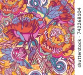 vector bright floral seamless... | Shutterstock .eps vector #742268104