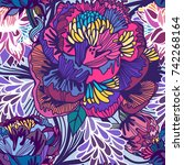 vector bright floral seamless... | Shutterstock .eps vector #742268164