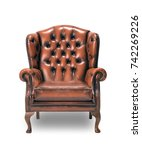 brown vintage armchair isolated ...