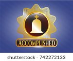 shiny badge with tombstone...   Shutterstock .eps vector #742272133