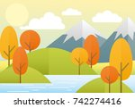vector illustration flat autumn ... | Shutterstock .eps vector #742274416