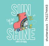 skate girl with slogan | Shutterstock .eps vector #742274443