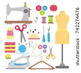 vector illustration of sewing... | Shutterstock .eps vector #742274476