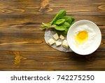 flour  egg  spinach parmesan ... | Shutterstock . vector #742275250