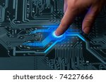 power mans finger is charging... | Shutterstock . vector #74227666