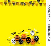 halloween decorations with... | Shutterstock .eps vector #742278070