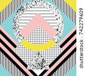seamless geometric pattern in... | Shutterstock .eps vector #742279609