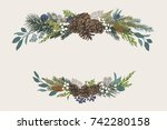 winter set. floral christmas... | Shutterstock .eps vector #742280158
