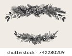 winter set. floral christmas... | Shutterstock .eps vector #742280209