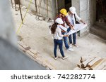 two female construction... | Shutterstock . vector #742282774